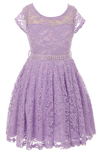 Floral Lilac Dress - Little Girl Cap Sleeve Lace Skater Stone Belt Flower Girls Dresses (19JK88S) Lilac 2