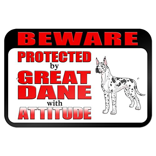 """Beware Protected by Great Dane with Attitude 9"""" x 6"""" Metal Sign for sale"""