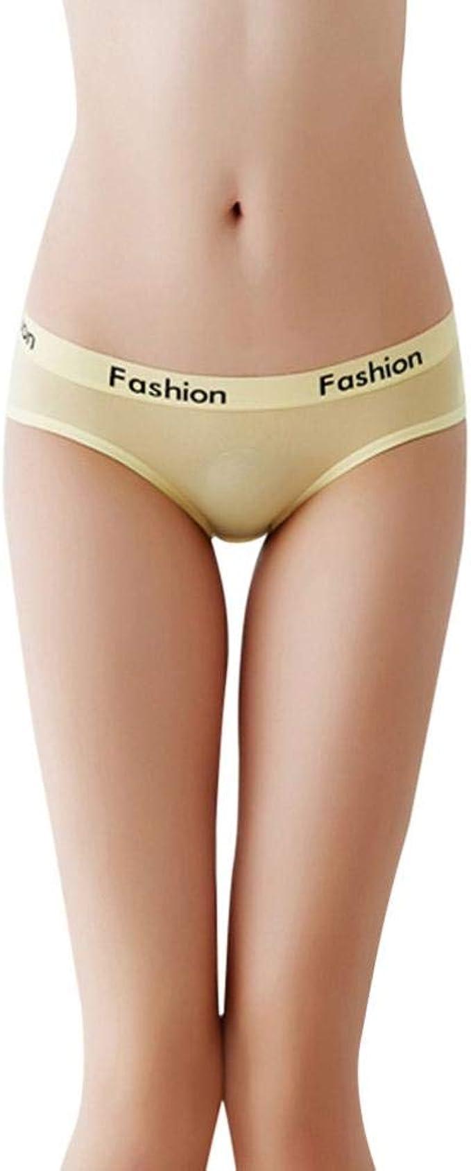 Gusspower Bragas Pantalones de Mujer Algodón Señoras Ropa Interior Sexy Low Rise Calzoncillos de Encaje Bikini Bragas (Amarillo): Amazon.es: Ropa y accesorios