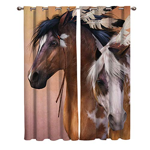 (India's Horse with Feather Window Blackout Curtains Darkening Thermal Insulated Curtains for Living Room Bedroom Window Drapes 40