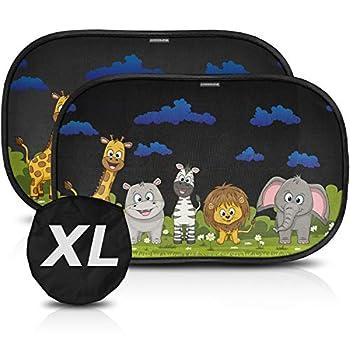 CARAMAZ Car Sun Shade for Baby Window Shade 23″x15″ Sunshade for car Baby Animal Group – Dark
