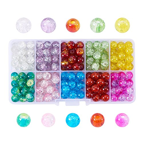 Pandahall 1 Box (About 180pcs) 10 Color Handcrafted Crackle Lampwork Glass Round Beads Assortment Lot for Jewelry Making, 8mm, Hole: 1.3mm