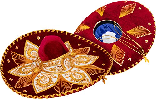 Premium Adult Mariachi Sombrero Charro Hat, Mexican Hat (Burgundy and -