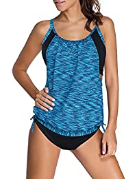 1054a9d408e91 Womens Stripes Lined Up Double Up Tankini Top Sets Swimwear