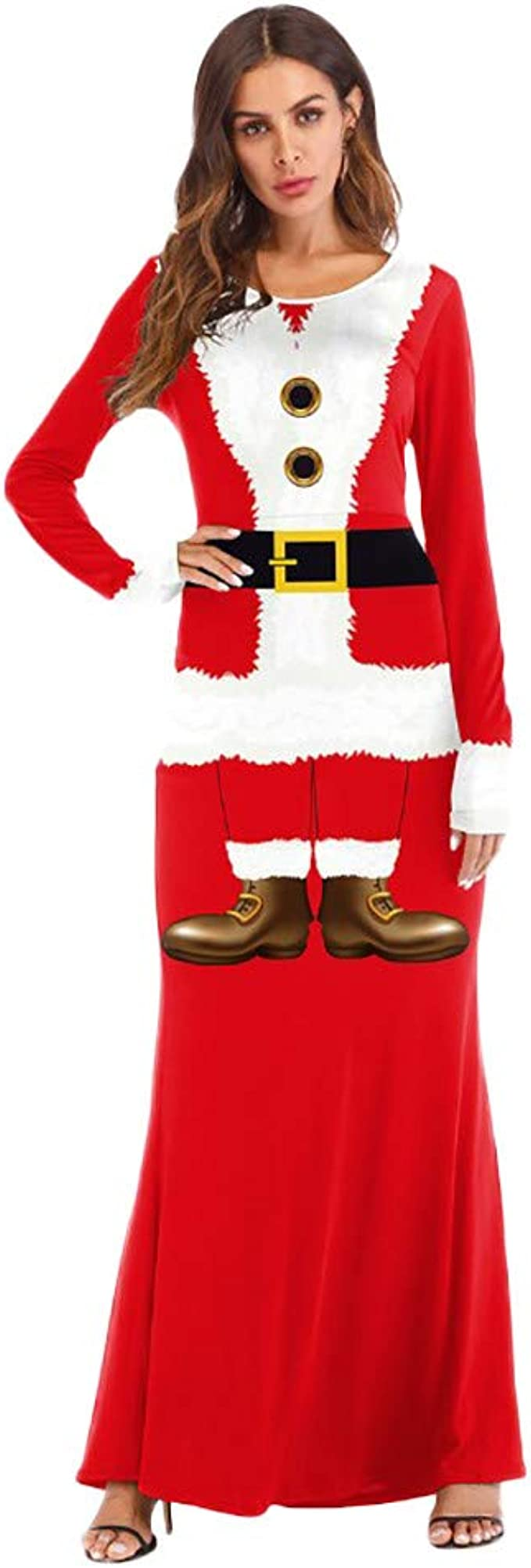 Amazon.com: Disfraz de Santa Claus para mujer, vestido de ...