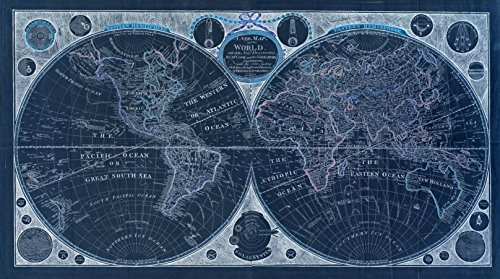 Vintography 18 x 24 Blueprint Style Reproduced Old Map 1799A New map The World All The New Discoveries Capt. Cook Other Navigators : Ornamented The Solar System, The eclipses The Sun by Vintography