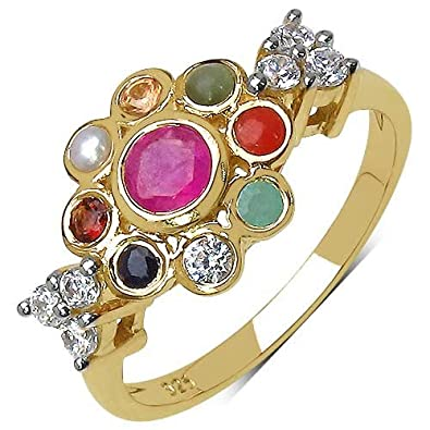 Buy 1 05CTW Navratna 14K Yellow Gold Plated 925 Sterling Silver