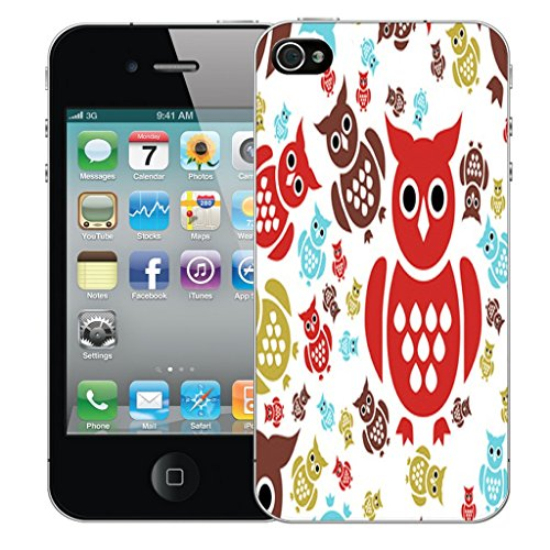 Mobile Case Mate iPhone 5 Silicone Coque couverture case cover Pare-chocs + STYLET - Coloured Owl pattern (SILICON)