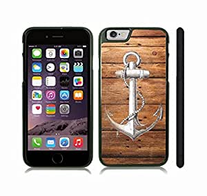 iStar Cases? iPhone 6 Case with Black and White Anchor Linework Design on Wood Panel Background , Snap-on Cover, Hard Carrying Case (Black)