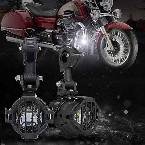 SUPAREE 40W LED Auxiliary Lamp 6000K Super Bright Fog Driving Light Kits with Protect Guards Wiring Harness For Motorcycle BMW R1200GS F800GS K1600 KTM HONDA (Lightx2) ()
