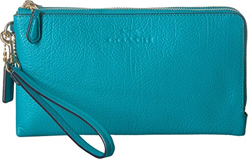 - COACH Women's Pebbled Leather Double Zip Wallet Im/Turquoise One Size