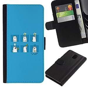 All Phone Most Case / Oferta Especial Cáscara Funda de cuero Monedero Cubierta de proteccion Caso / Wallet Case for Samsung Galaxy Note 3 III // Drinking Bear