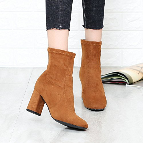 Thirty Socks And Tube High Brown Winter Boots And Bare Boots nine And Autumn Heeled KHSKX Yellow Boots Simple Boots Shoes Square With Women'S Thick xpBAATqfw