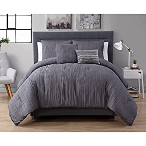 3 Piece Twin Dark Grey Comforter Set Textured Theme Contemporary Style Luxury