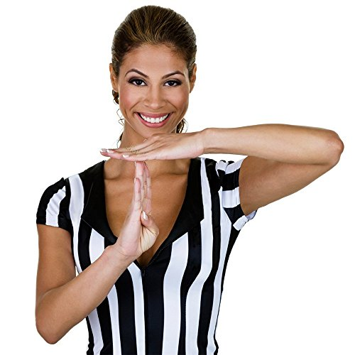 Crown Sporting Goods Women's Official Striped Referee/Umpire Jersey, Black/White, X-Large -