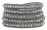 Chan Luu Crystal Grey Gray Leather Wrap Bracelet bs-3469