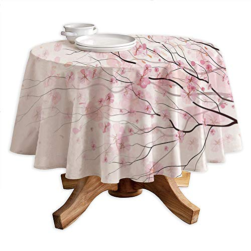 yester Tablecloth,Artistic Sakura Branch with Cherry Flowers Tender Japanese Spring Decorative,Dining Room Kitchen Round Table Cover,36