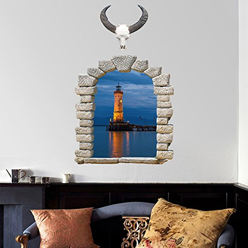 Wall Decals Blue Lighthouse PVC Wall Stickers - 4