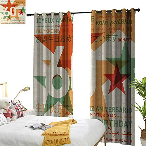 Anyangeight 60th Birthday,Decor Curtains by,World Cities Birthday Party Theme with Abstract Stars Print,W96 xL84,Suitable for Bedroom Living Room Study, etc. ()