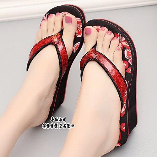 para flops Alto flip mujer Pendiente C Tacón SCLOTHS Chanclas antideslizante Rojo aq5SwSBx