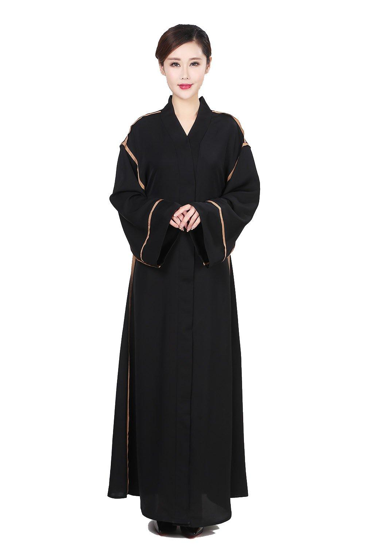 Women Striped Patchwork Fancy Black Open Long Sleeve Maxi Muslim Abaya Kimono Kaftan (XL, Black)