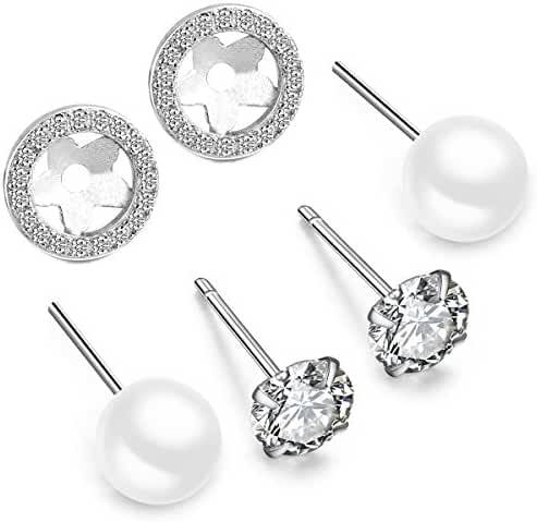 Stud Earrings Set Sterling Silver 7.5mm Freshwater Cultured Pearl and Cubic Zirconia with Pair of Jackets for Women Girls