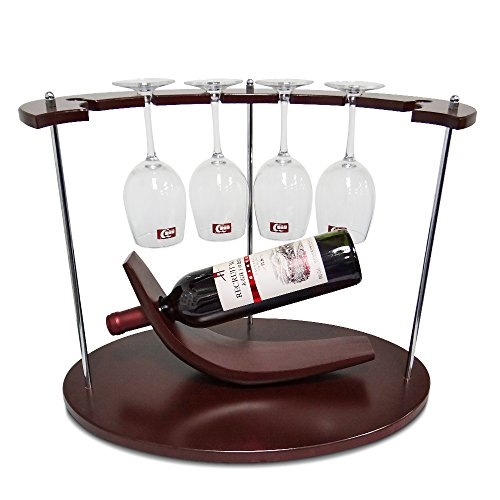 AMZNEVO Best Small Wine Rack with Glass Holder, Unique/Countertop/Free Standing/Wooden, 1 Bottle & 6 Glasses Stemware Organizer for Kitchen Furniture Decoration