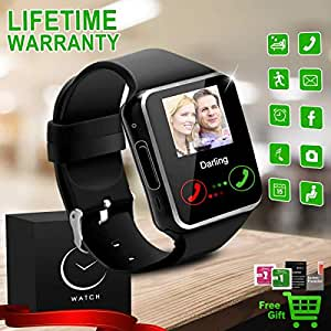 Reloj Inteligente Bluetooth Smartwatch Relojes Deportivos con Camara Smart Watch Whatsapp Pantalla Táctil Teléfonos Inteligentes Compatible iPhone ...