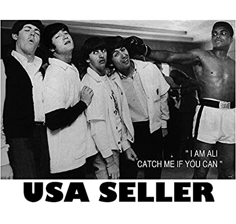 Amazon Com Muhammad Ali Meets The Beatles B B W Poster 34 X 23 5 Boxing Legend John Lennon Paul Mccartney Miami 1964 Sent From Usa In Pvc Pipe Posters Prints