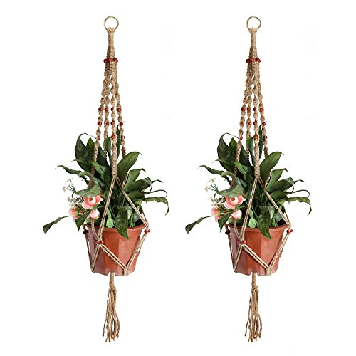 Accmor Plant Hanger with 32 Beads and Hanging Ring- 4 Legs 36Inch Strong Handmade Jute Indoor Outdoor Patio Deck Ceiling Plant Holder for Round  Squa…
