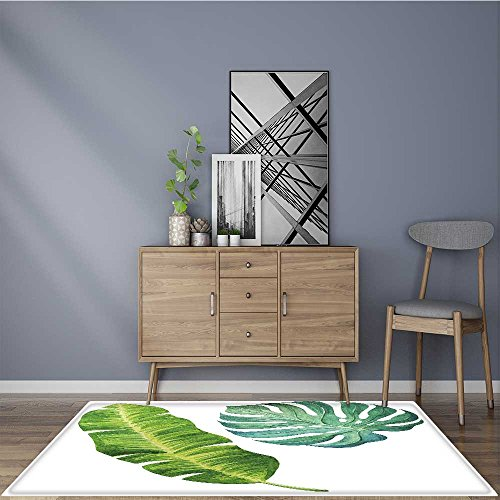 Water-Repellent Rugs tropical leaves watercolor illustration Anti Bacterial,Latex 5' X 7'