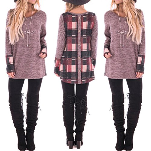 Franterd Plaid Patchwork Pullover For Women, Winter Casual Long Sleeve Buttons Blouse T-Shirt Top