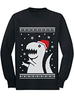 Ugly Christmas Sweater Big Green Trex Santa Funny Kids T-Shirt Gift Idea