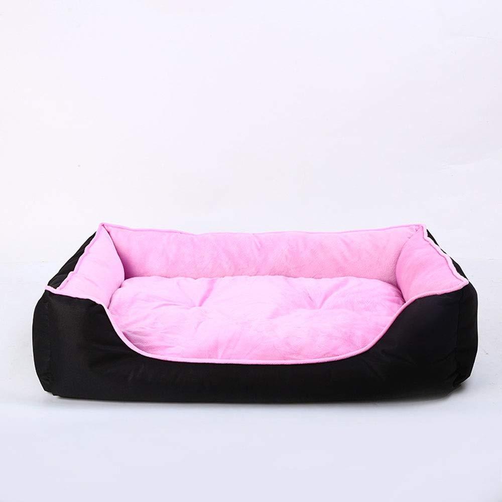 Pink 604516cm Pink 604516cm Kirabon PVC Oxford Cloth Pet Mat House Super Soft Short Plush Dog Mattress (color   Pink, Size   60  45  16cm)