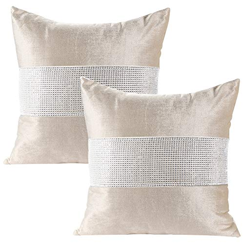 JOTOM Pack of 2 Cushion Covers Decorative Luxury Diamond Throw Pillow Covers Sofa Car for Home Bed Decor 18x18 Inch 45 x 45 cm (White) ()