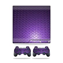 Mightyskins Protective Vinyl Skin Decal Cover for Sony Playstation 3 PS3 Slim skins + 2 Controller skins Sticker Purple Dia Plate