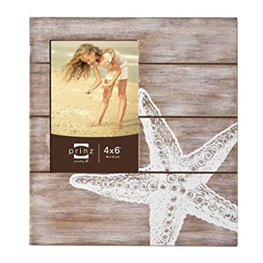 Prinz High Tide Solid Wood Frame Silkscreened with Starfish Design, 4 by 6-Inch