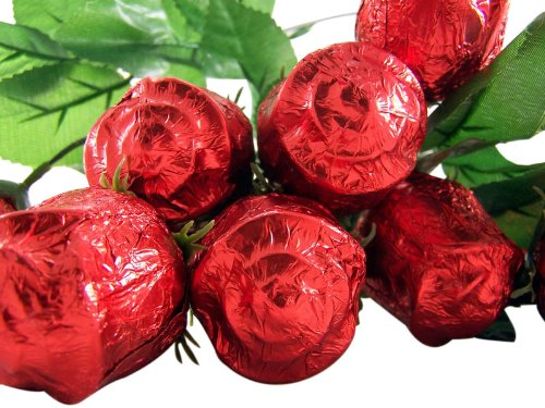 One Dozen (12) Long Stem Milk Chocolate Rose Candy Bouquet (One Long Stem Dozen)
