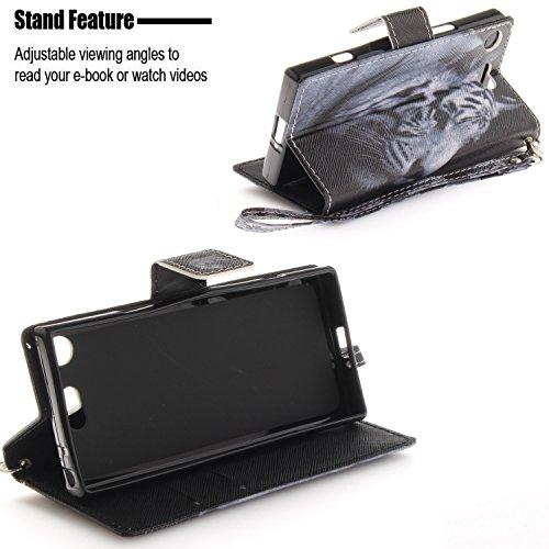 XZ1 Coque de Protecteur Xperia et Portefeuille Sony Fentes Compact S Lohpe 13 Support pour PU Coque Carte Cuir Clapet avec Luxe Housse 4Uq5wI