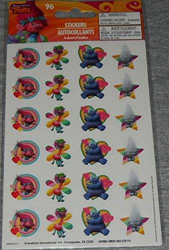 Dreamworks Trolls Stickers 94 Mini Stickers