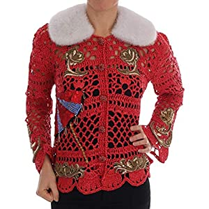 Dolce & Gabbana Red Fairy Tale Fur Crystal Cardigan Sweater