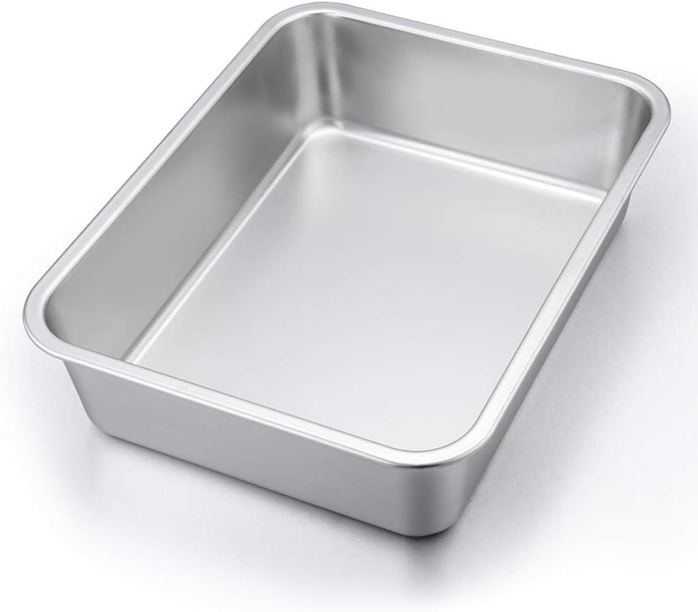 """P&P CHEF Lasagna Pan, Rectangular Cake Pan Roaster Pasta Baking Cookie Sheet Pan Stainless Steel, 12.75""""x10""""x3.2"""", Heavy Duty & Durable, Oven & Dishwasher Safe"""
