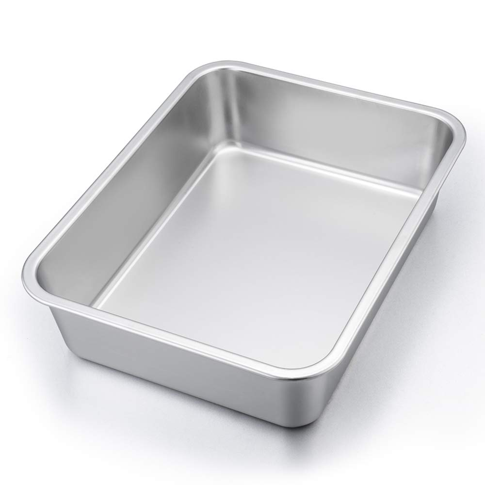 "P&P CHEF Lasagna Pan, Rectangular Cake Pan Roaster Pasta Baking Cookie Sheet Pan Stainless Steel, 12.75""x10""x3.2"", Heavy Duty & Durable, Oven & Dishwasher Safe"