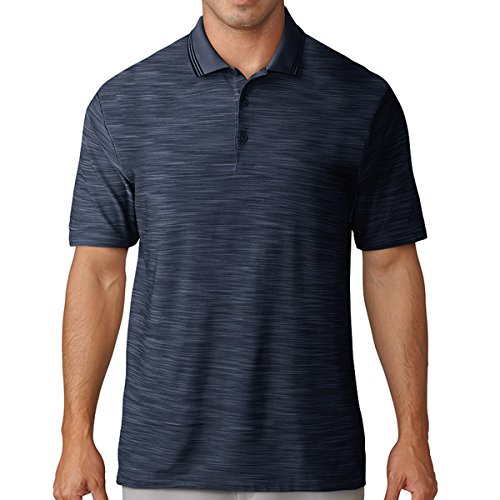 (Medium, Collegiate Navy) - adidas Golf 2018 Ultimate 365 Textured Stripe Mens Performance Golf Polo Shirt