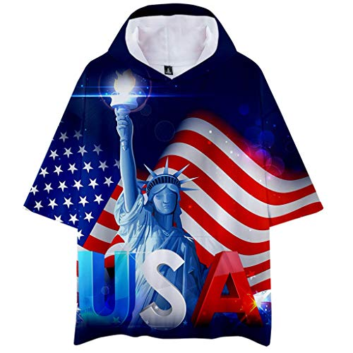 (Unisex Patriotic Hooded Short Sleeves T Shirt,Toponly Boys Men American Flag Print Sweat-Shirt Pullover Blouse Tops)