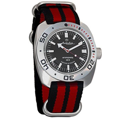 Vostok Amphibian Automatic Mens Wristwatch Self-Winding Military Diver Amphibia Ministry Case Wrist Watch #710662 (Black+red) ()