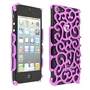ZL Hollow Pattern Plastic Hard Case for iPhone 5/5S , Purple