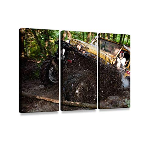 Off Road Truck in Trial competition3 Pieces Print On Canvas Wall Artwork Modern Photography Home Decor Unique Pattern Stretched and Framed 3 Piece