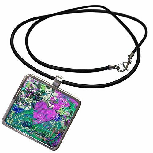 - 3dRose Andrea Haase Illustration Love - Colorful Abstract Painted Heart - Necklace With Rectangle Pendant (ncl_271227_1)