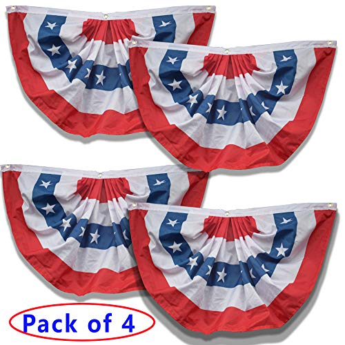 Xunny American Flag Pleated Bunting, US Flag Bunting, Patriotic Bunting Flag, 4th of July Bunting, 4-Pack Bunting